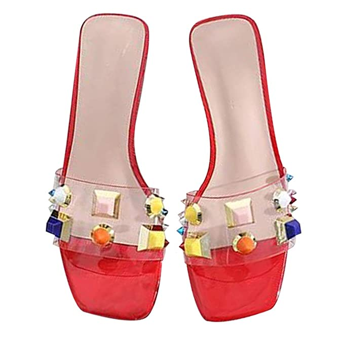 3c94e327ce540f Women Flat Sandals Stud Colorful Rhinestones Slipper Dressy Rivets Slides  (5.5