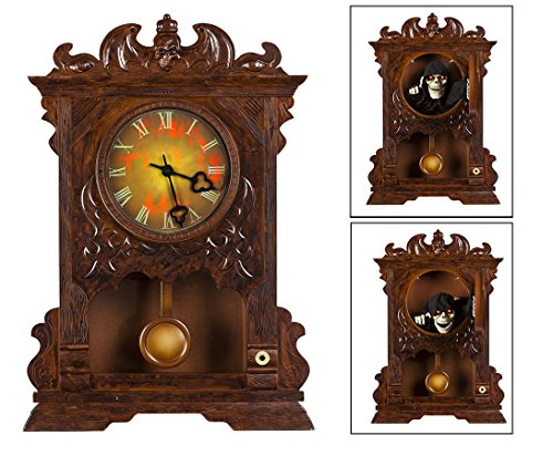 [Animated Haunted Halloween Wall Clock Halloween Prop Decoration Animatronic] (Halloween Animatronics)