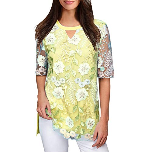 - LEXUPA Women Casual O Neck Shirt Chiffon Embroidered Top Blouse(Yellow,Small)