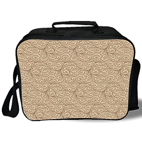 Antique French Jet - Insulated Lunch Bag,Beige,Floral Swirls Damask Pattern Classic Victorian Style in Retro Background Antique Design Decorative,French Beige,for Work/School/Picnic, Grey