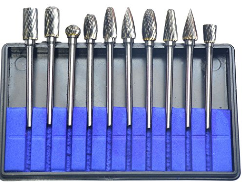 KOTVTM 10Pcs Single Cut Tungsten Carbide Rotary Burr Set 1/8