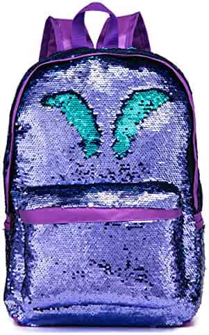 7fa9742c9615 SIWA MARY Reversible Sequins School Backpack for Girls Students Magic  Glitter Mermaid Lightweight Travel Backpack