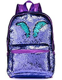 Reversible Sequins School Backpack for Girls Students Magic Glitter Mermaid Lightweight Travel Backpack