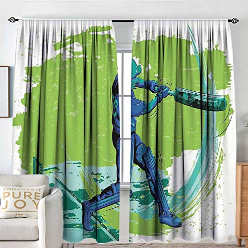 Rod Pocket Blackout Curtain Sports,Cricket Player Pitching Win Game Champion Team Paintbrush Effect,Navy Blue Turquoise Lime Green,Decor/Room Darkening Window Curtains -