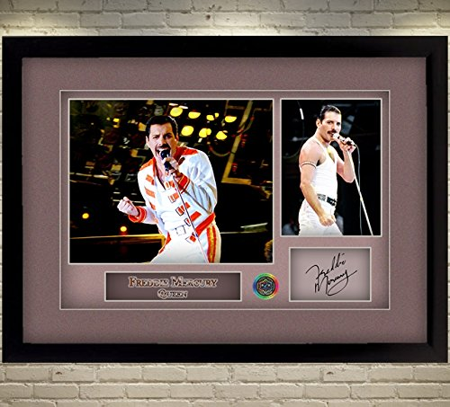 - S&E DESING Freddie Mercury Queen Signed Autograph Music Framed Photo Printed Without A Mount
