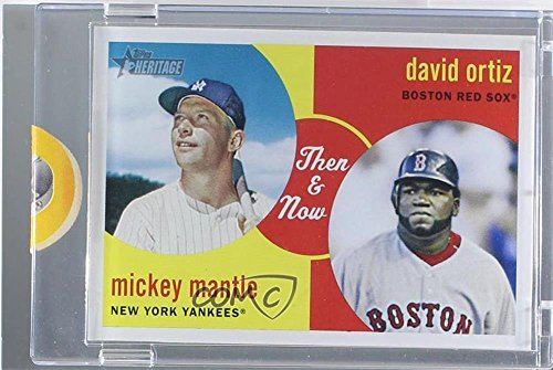 Mickey Mantle; David Ortiz Manufacturer ENCASED Uncirculated #1/1 (Baseball Card) 2008 Topps Heritage - Then & Now - Topps Vault Blank Back #TN5
