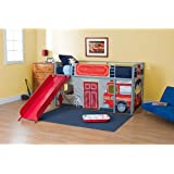 Fire Department Twin Loft Bed with Slide and Ladder Boys