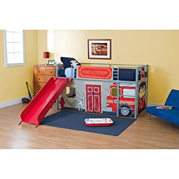 Amazon Com Boys Fire Department Twin Loft Bed With Slide Red