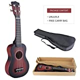 LAGRIMA Ukulele 21Inch Soprano Acoustic Mini Guitar Musical Instrument Nylon Strings Instrument Starter with Black Gig Bag for Beginners and Students