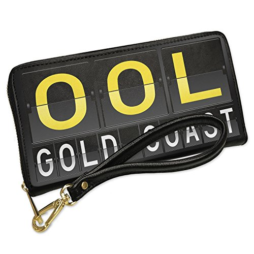 Wallet Clutch OOL Airport Code for Gold Coast with Removable Wristlet Strap - Gold Shops Airport Coast