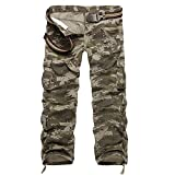 Sunin Men's Cotton Camouflage Outdoor Cargo Casual Pants Plus Size With Belt (Waist28, Waterwave Camo)