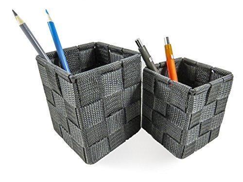 Office Desk Pen Pencil Holder Organizer Woven Strap Gray (2 Piece Set) by Daiso