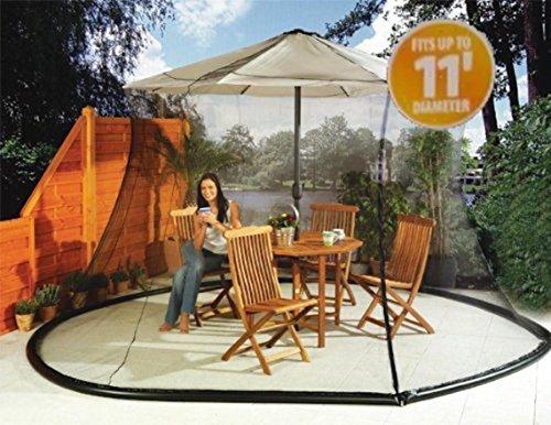 Sid Trading Umbrella Mosquito Net Canopy Patio Set Screen House Black (Zipped Entry)