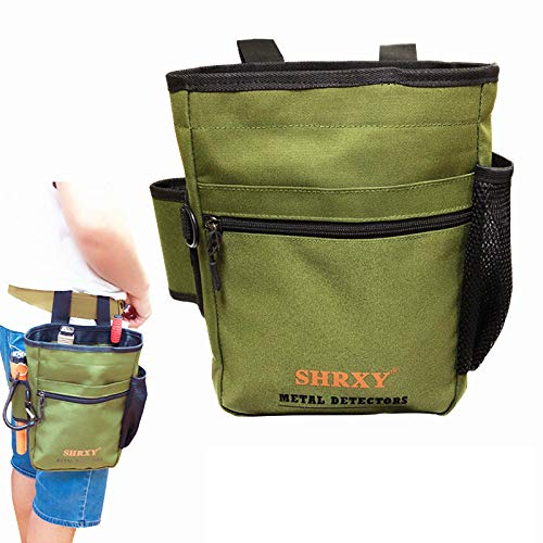 shrxy Metal Detecting Finds Bag Waist Digger Pouch Tools Bag for PinPointer Garrett Detector Xp ProPointer Accessories ... (Green) (Best Digging Tool For Metal Detecting)