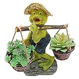 XiaZ Frog Succulent Planter, Artificial/Live Succulent Plant Pots Container Planter with Hole, Air Plant Holder for Home Garden Yard Desk Decoration (Include 3 Pcs Faux Fake Succulents)
