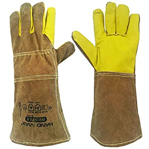 Amazon Com Animal Handling Gloves 35cm Gauntlet Leather