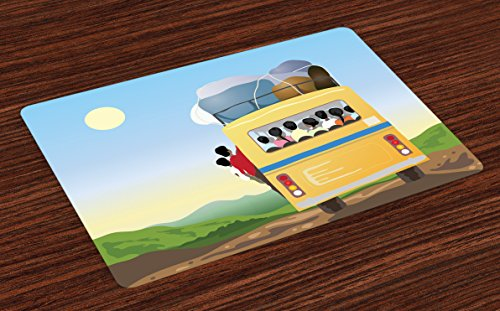 Ambesonne Cartoon Place Mats Set of 4, Yellow Bus Full of Passengers and Luggage Driving in Asian Meadows Warm Spring Day, Washable Fabric Placemats for Dining Room Kitchen Table Decor, Multicolor Diner Passenger Set