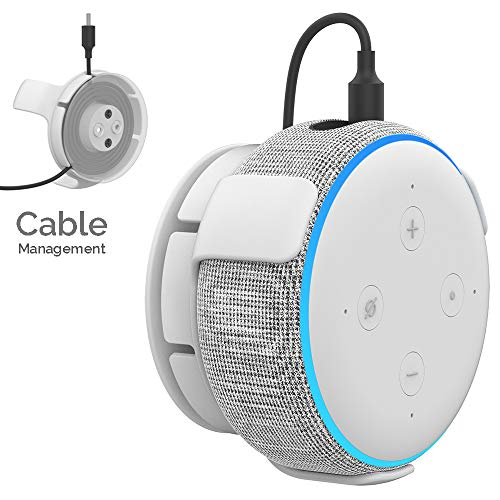 AHASTYLE Wall Mount Hanger Holder ABS Compatible with Echo Dot 3rd Generation, Built-in Cable Management (White)