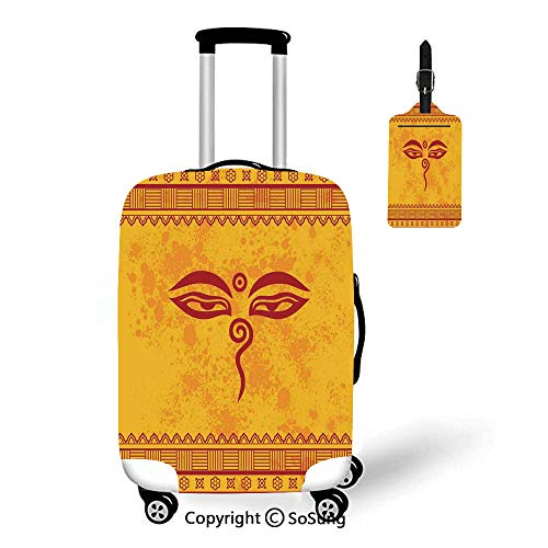 Ethnic Grunge Decor Travel Suitcase Protective Cover,Fit for 18-22