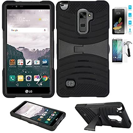 lg 4g phone cases. phone case for lg stylo 2 4g lte tempered glass screen protector with heavy duty armor lg cases b