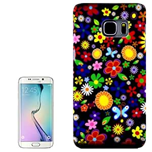Bright-Coloured Flowers Pattern PC Protective Case Cover Carcasa Para Samsung Galaxy S6 Edge G928 /