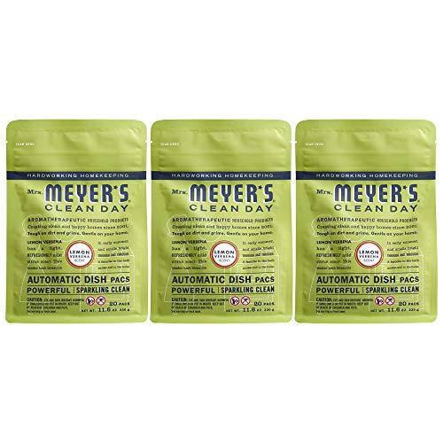 Mrs. Meyer's Clean Day Automatic Dish Packs, Lemon Verbena, 20 ct, 3 un
