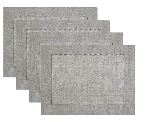 100% Linen Hemstitch Placemats - (Set of 4) Size 14x19 Charcoal - Hand Crafted and Hand Stitched Placemats with Hemstitch detailing. The pure Linen fabric works well in both casual and formal settings]()