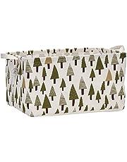 "Sea Team 17.7"" x 11.8"" x 9.8"" Square Natural Linen & Cotton Fabric Storage Bins Shelves Storage Baskets Organizers for Nursery & Kid's Room (Tree)"