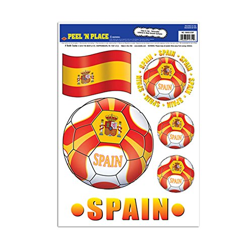Beistle Party Decoration Peel 'N Place - Spain 12'' x 17'' Sheet (6/Count)- Pack of 12 by Beistle