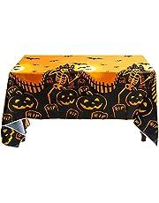 Tafelkleed Halloween decoratie, waterdicht plastic tafelkleed, griezelig tafelkleed, wegwerp rechthoekig tafelkleed, griezelige pompoenen, voor Halloween en feestdecoratie, binnen en buiten