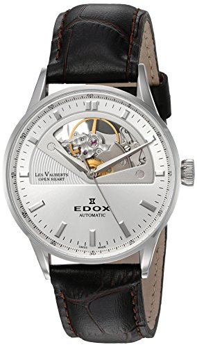 Edox Women's 85019 3A AIN Les Vauberts Analog Display Swiss Automatic Black Watch