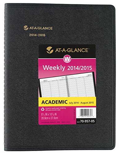 At-A-Glance AAG7095705 Academic Weekly Appointment Book, July 2014-August 2015, 8-Inch x 11-Inch, Black