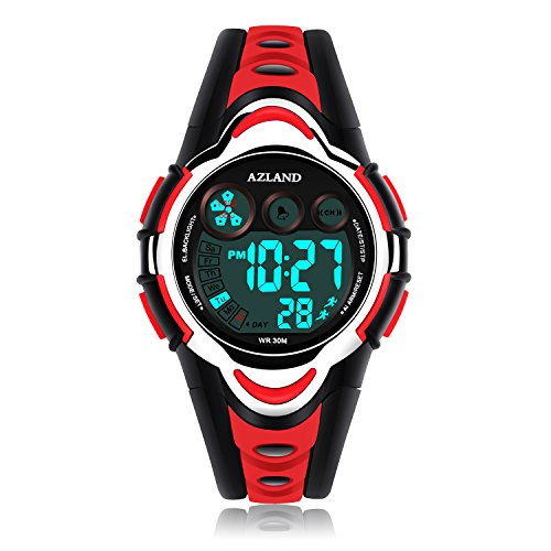 AZLAND Waterproof Swimming Led Digital Sports Watches for Children Kids Girls Boys,Rubber strap,Red (Children Watch Band)