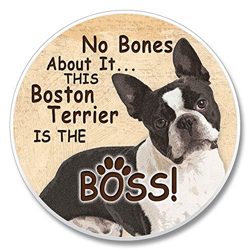 No Bones About It. This Boston Terrier is the Boss! Single Ceramic Car Coaster