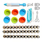 51 Piece Cake Decorating Kit with Piping Tips, Bags, Couplers, Flower Nails, Cake Pen and More Plus E-Guide on Icing Tips