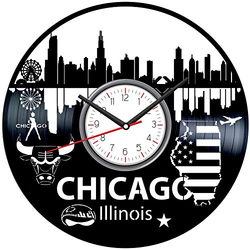 Chicago Illinois Black Vinyl Clock - Vintage Room Kitchen Bedroom Decor - Vinyl Record Gift Idea for Birthday Christmas Hanukkah - Unique Vintage Wall Art - Personalized Home Decoration - - Clock Illinois Vintage
