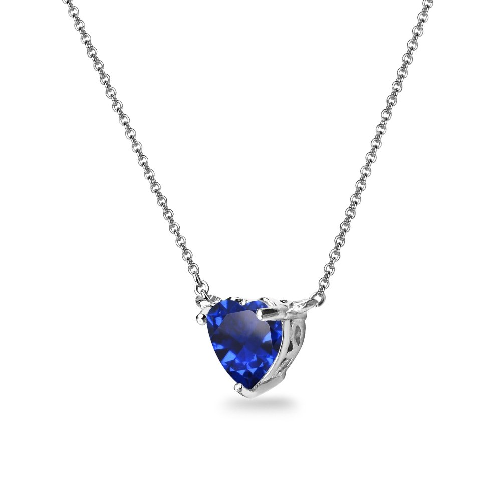 Sterling Silver Created Blue Sapphire 7x7mm Heart Shaped Dainty Choker Necklace by GemStar USA (Image #2)