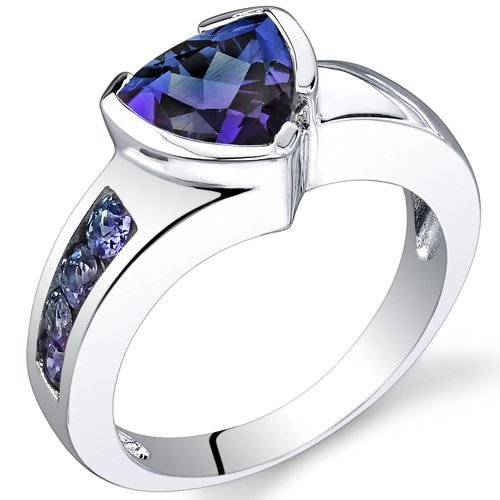 2.75 carats Trillion Cut Simulated Alexandrite Ring in Sterling Silver Rhodium Nickel Finish size 6