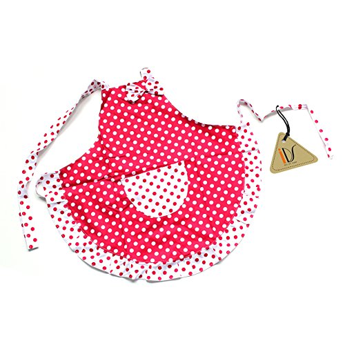 IDS Home Princess Red White Dot Bow Frill Adjustable Kid Cotton Apron