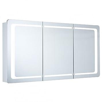 Spiegelschrank Galdem ROUND120 / Badezimmerschrank 120cm / 3 Türig / Mit  LED   Beleuchtung / Softclose