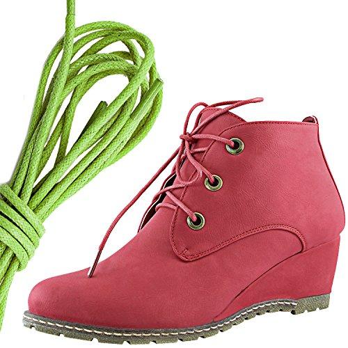 Dailyshoes Moda Donna Allacciatura Punta Rotonda Stivaletto Zeppa Alta Oxford Con Zeppa, Verde Lime Rosso Pu