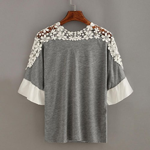 Tops dentelle T courtes Moonuy papillon blouse Noeud Casual manches shirt Femmes femmes shirt Gris Patchwork souple Chemisier Automne Automne qwZXv1Hf