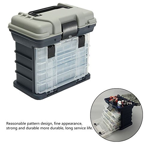 Portable Handheld Fishing Tackle Box 4 Layers Bulk Drawer Organizer Tool Fishing Lures Hooks Accessories Storage Tray Bait Case with Handle Utility Box by Unknown (Image #3)