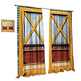 cobeDecor Rustic Blackout Window Curtain Authentic Lumber Door of Urban House in Town Classic Featured Nostalgic Gate Print Customized Curtains W120 x L108 Blue Orange