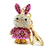Teri's Boutique Cute Lovely Bling Bright Rabbit Crystal Rhinestone Gold Tone Purse Charm Keychain (Pink)