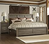 Juararoy Casual Dark Brown Color Replicated rough-sawn oak King Bed And Nightstand