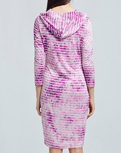 Coolred-femmes Impression Teints À Rayures Capuche Tie-dye Robe Midi Pull-over De Luxe Violet