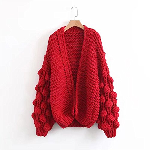 Knitting Women's QXH Long Color sleeve Solid Cardigan Sweaters Loose Red qRwEv