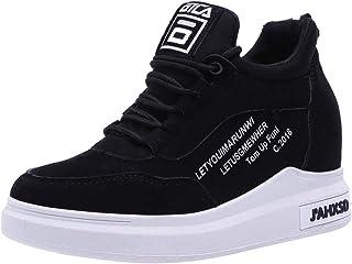 JIANGfu Donna Sneakers Tinta Unita,Scarpe Sportivi Tacco Alto Zeppe Stringate