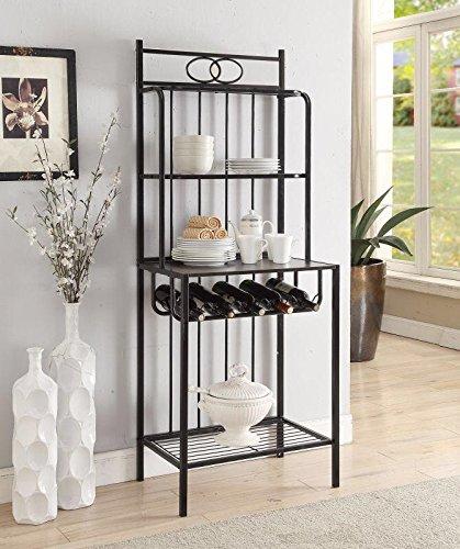4-tier-Black-Metal-Cappuccino-Finish-Shelf-Kitchen-Bakers-Rack-with-5-Bottles-Wine-Storage